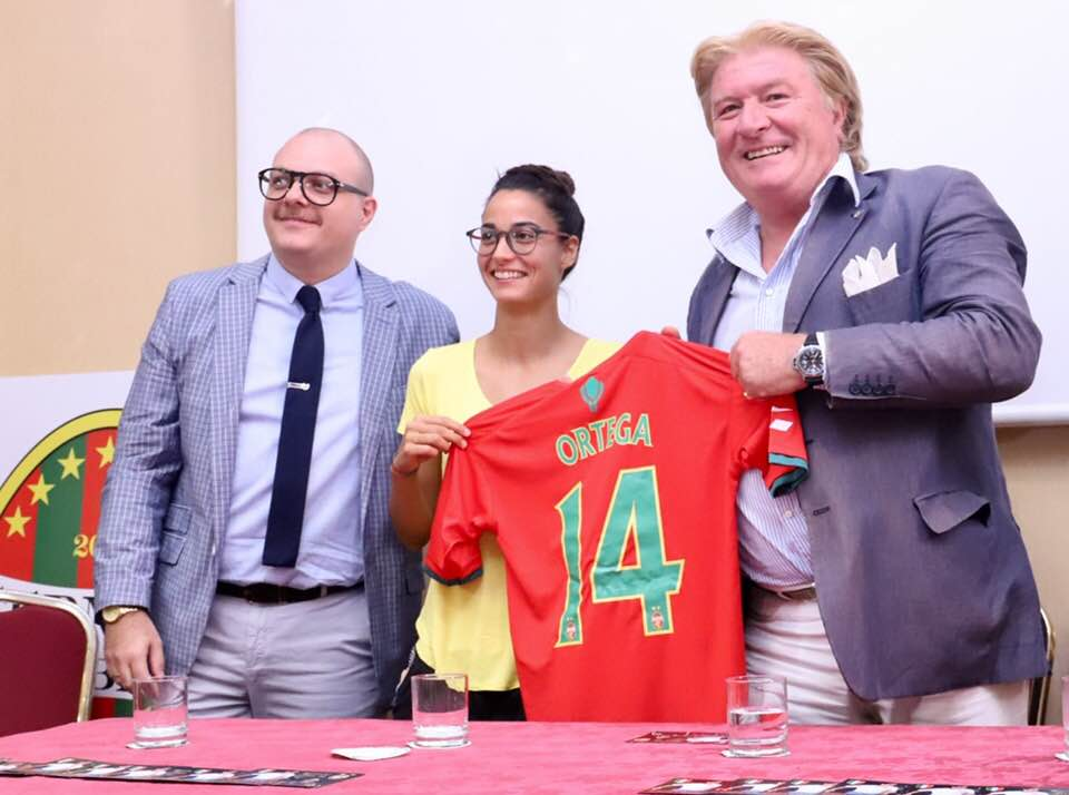 Eva Ortega, Bruno Bevilacqua e il ds Basile (foto Foti)
